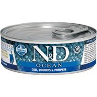 N&D Ocean Kitten konzerva za mačke Bakalar, Škampi, Bundeva 80g